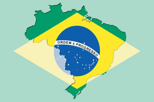 Illustration of outlined  and stylized map of Brasil with brasilian flag in background