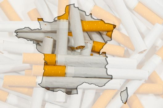 Outline map of France with cigarettes in background