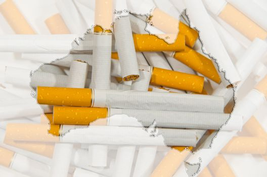 Outline map of Australia with cigarettes in background