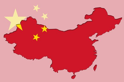 Illustration of outlined  and stylized map of China with chinese flag in background