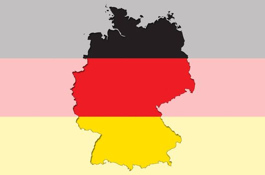 Illustration of outlined  and stylized map of Germany with german flag in background