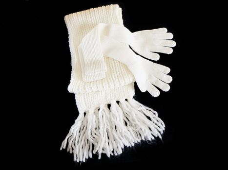 Knitted woolen scarf and gloves