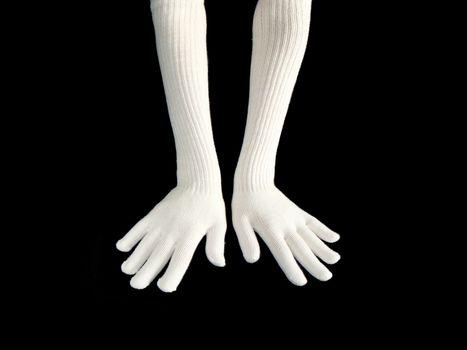 Two women hands in woolen gloves