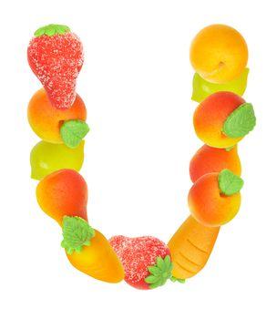 alphabet from fruit, the letter U