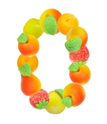 alphabet from fruit, the number 0