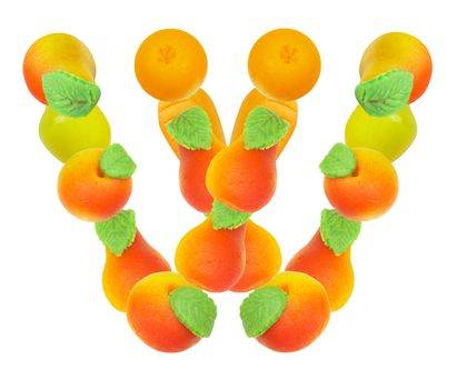 alphabet from fruit, the letter W