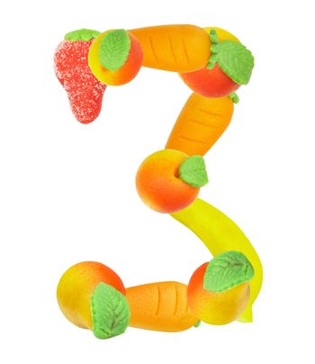alphabet from fruit, the number 3