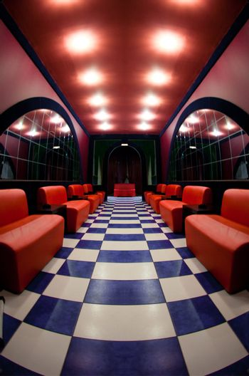 Room with a checkered floor