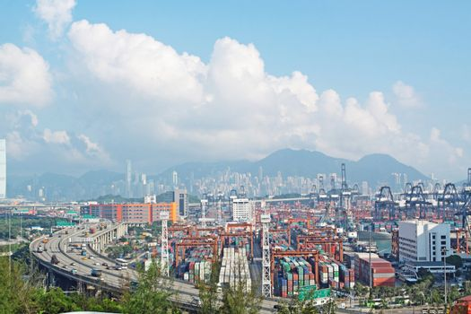 highway and container terminals in Hong Kong
