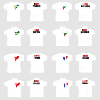 white t shirt with country flags in love heart with slogan