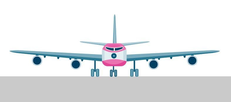 illustration of a commercial jet plane airliner on flight front view  isolated background