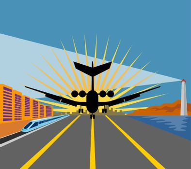 illustration of a commercial jet plane airliner taking off on runway airport with train and lighthouse isolated background