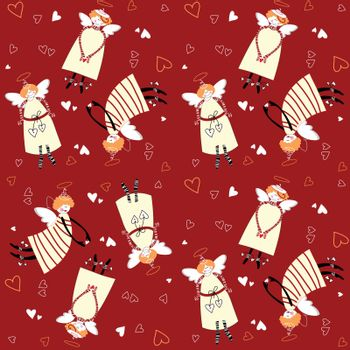 Christmas pattern. Angels and hearts on a red background.