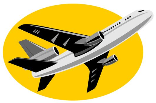 illustration of a commercial jet plane airliner on flight flying taking off isolated background