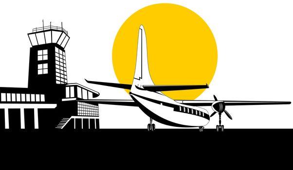 propeller airplane airliner on runway airport