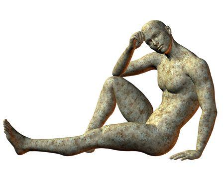 Stone statue sitting