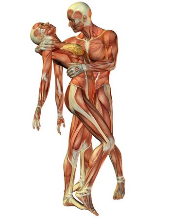 Muscle woman and man standing