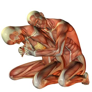 Muscle man hugging woman from behind