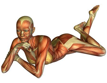 Muscle woman lying