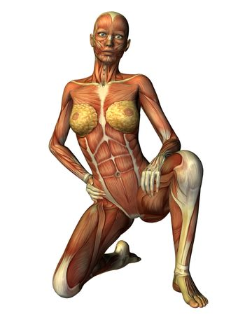 Muscle woman on one knee