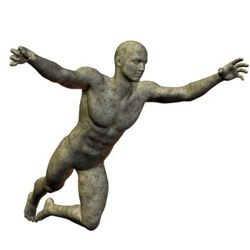 Granite statue jumping man