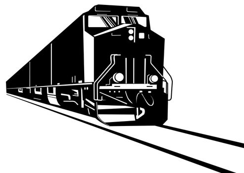 illustration of a diesel train locomotive coming up on railroad done in retro  style on isolated background