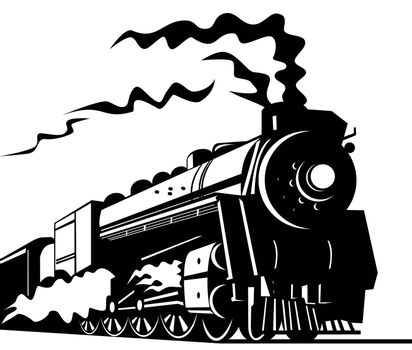 illustration of a steam train locomotive coming up on railroad done in retro style on isolated background