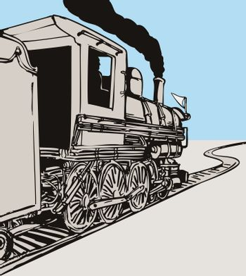 illustration of a steam train locomotive coming up on railroad done in retro style on isolated background viewed from rear side