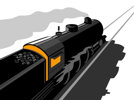 illustration of a steam train locomotive coming up on railroad done in retro style on isolated background viewed from high angle