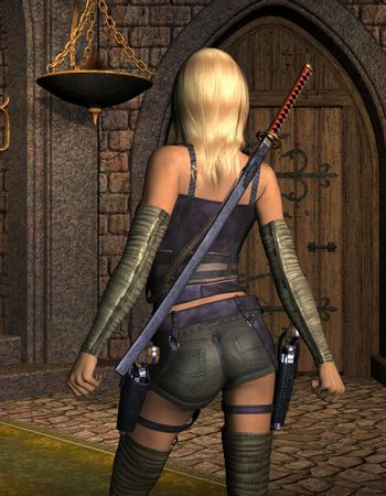 armed young woman from behind