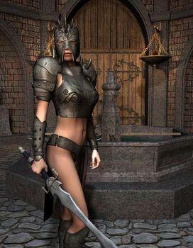 Woman Warrior in Armor