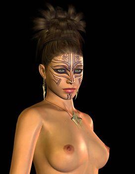 Amazon with facial tattoo