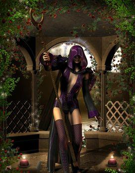 Sorceress with magic wand