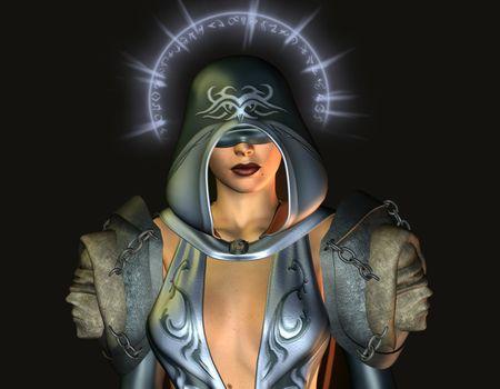 Fantasy blind holy woman