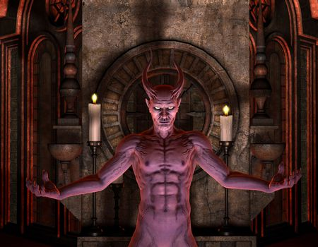 Devil in front of a dark Shrine