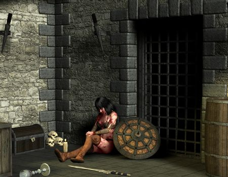 woman wounded in the dungeon