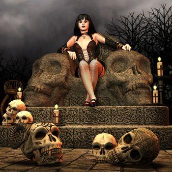 Gothic Lady on a throne