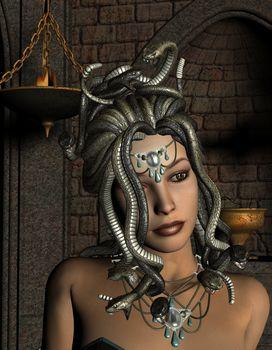 Medusa in front of Shrine
