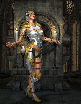 Warrioress in silver armor on golden Shrine
