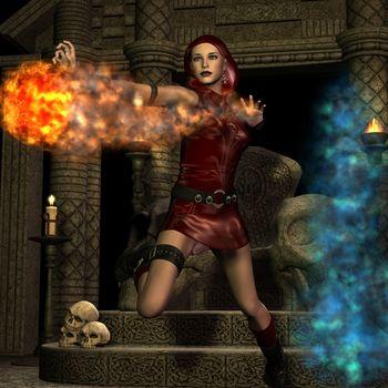 Sorceress with fireball