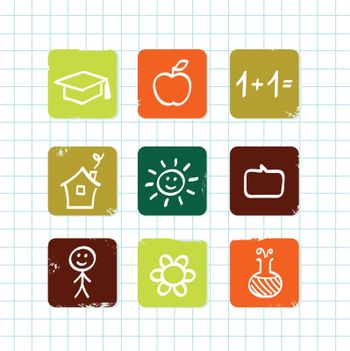 Hand drawn School icons. Isolated on school grid.
