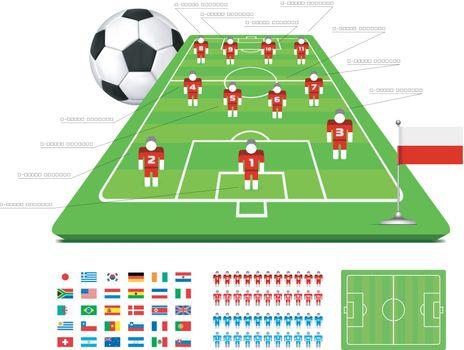 Soccer Tactical Kit Set for infographics. Vector illustration