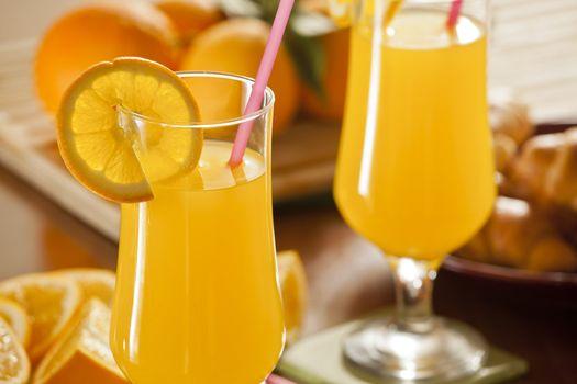 Fresh Orange Juice and Croissants