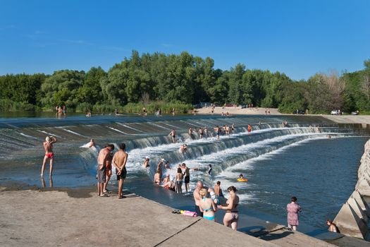 Overflow Weir of the River Great Irgiz, Saratov region, Russia. (Geo Location: 51.8794°N 48.3080°E)