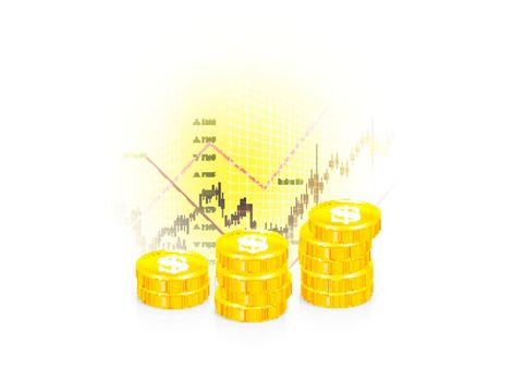 Vector illustration of business graph with coins on white