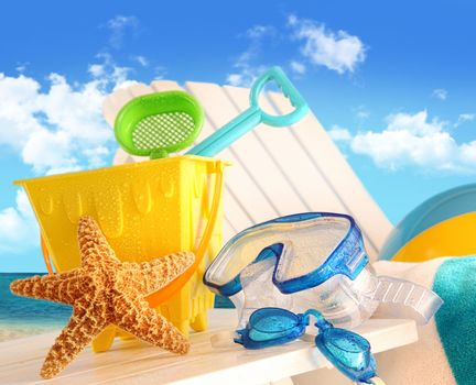 Closeup of children's beach toys