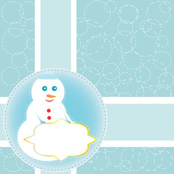 Christmas card with snowman. Vector new year card background