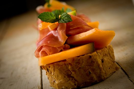 Ham and melon appetizer