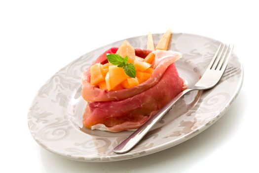 Stuffed ham with melon