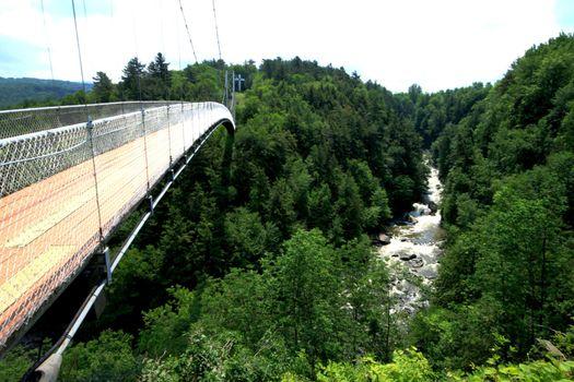 Longest suspended pedestrian bridge over  a river